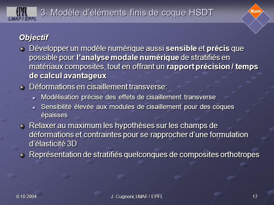 LMAF / EPFL 176.10.2004J. Cugnoni, LMAF / EPFL 3. Modèle déléments finis de coque HSDT Objectif Développer un modèle numérique aussi sensible et préci