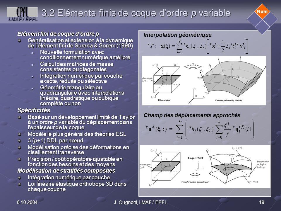 LMAF / EPFL 196.10.2004J. Cugnoni, LMAF / EPFL 3.2 Eléments finis de coque dordre p variable Elément fini de coque dordre p Généralisation et extensio