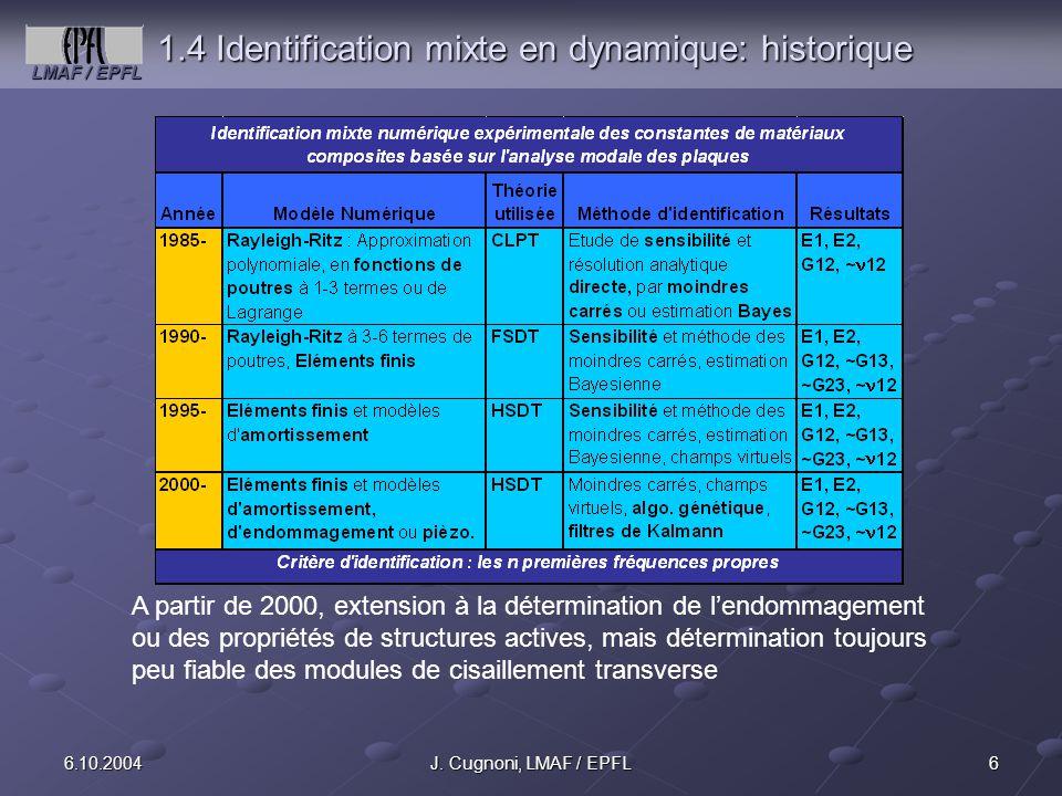 LMAF / EPFL 66.10.2004J. Cugnoni, LMAF / EPFL 1.4 Identification mixte en dynamique: historique A partir de 2000, extension à la détermination de lend
