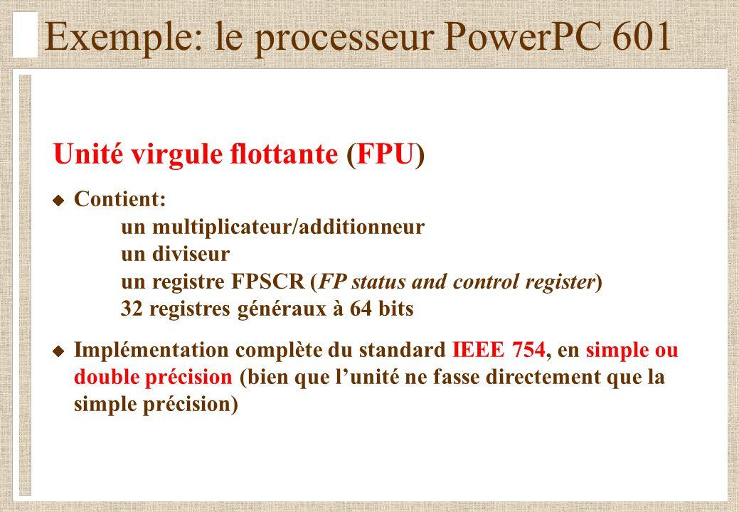 Exemple: le processeur PowerPC 601 Unité virgule flottante (FPU) Contient: un multiplicateur/additionneur un diviseur un registre FPSCR (FP status and