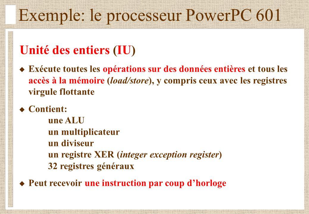 Exemple: le processeur PowerPC 601 Unité des entiers (IU) Exécute toutes les opérations sur des données entières et tous les accès à la mémoire (load/