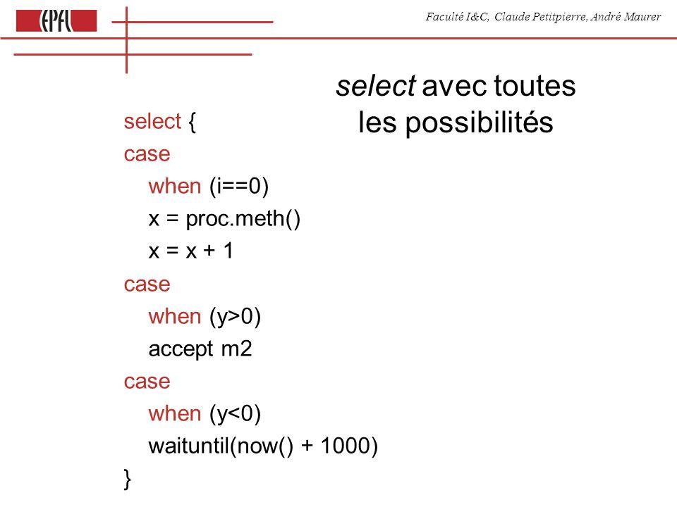 Faculté I&C, Claude Petitpierre, André Maurer select avec toutes les possibilités select { case when (i==0) x = proc.meth() x = x + 1 case when (y>0) accept m2 case when (y<0) waituntil(now() + 1000) }