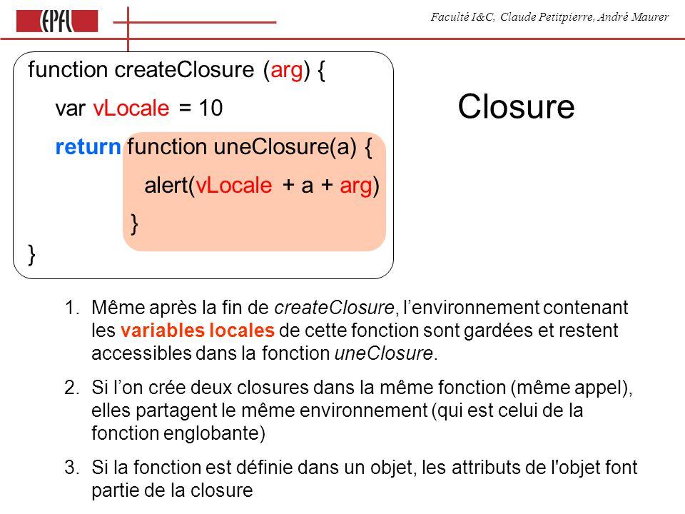 Faculté I&C, Claude Petitpierre, André Maurer Synchronisation entre objects rendez-vous process ABC (nom, p1) { this.run() { for (;;) { waituntil(now() + 2000) p1.meth() }}} process XYZ (nom, p1) { this.meth = function() { } this.run() { for (;;) { accept meth }}}