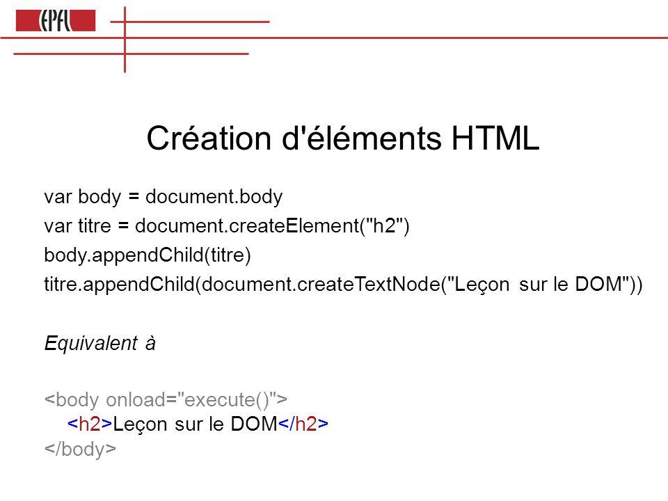 Création d éléments HTML var body = document.body var titre = document.createElement( h2 ) body.appendChild(titre) titre.appendChild(document.createTextNode( Leçon sur le DOM )) Equivalent à Leçon sur le DOM