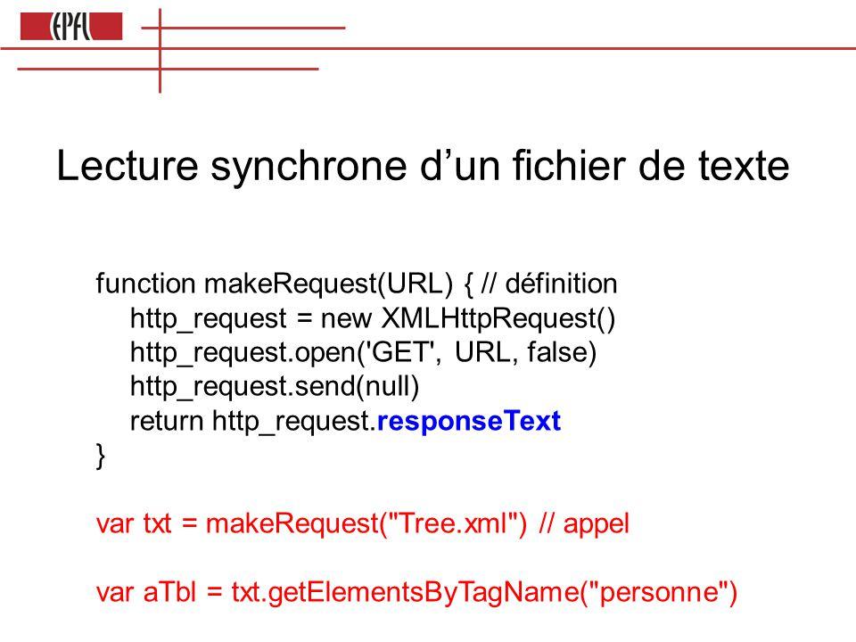 Lecture synchrone dun fichier de texte function makeRequest(URL) { // définition http_request = new XMLHttpRequest() http_request.open( GET , URL, false) http_request.send(null) return http_request.responseText } var txt = makeRequest( Tree.xml ) // appel var aTbl = txt.getElementsByTagName( personne )