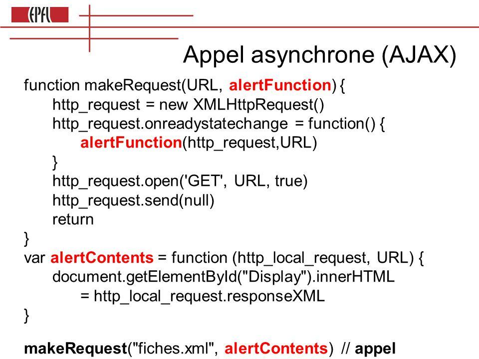 Appel asynchrone (AJAX) function makeRequest(URL, alertFunction) { http_request = new XMLHttpRequest() http_request.onreadystatechange = function() { alertFunction(http_request,URL) } http_request.open( GET , URL, true) http_request.send(null) return } var alertContents = function (http_local_request, URL) { document.getElementById( Display ).innerHTML = http_local_request.responseXML } makeRequest( fiches.xml , alertContents) // appel