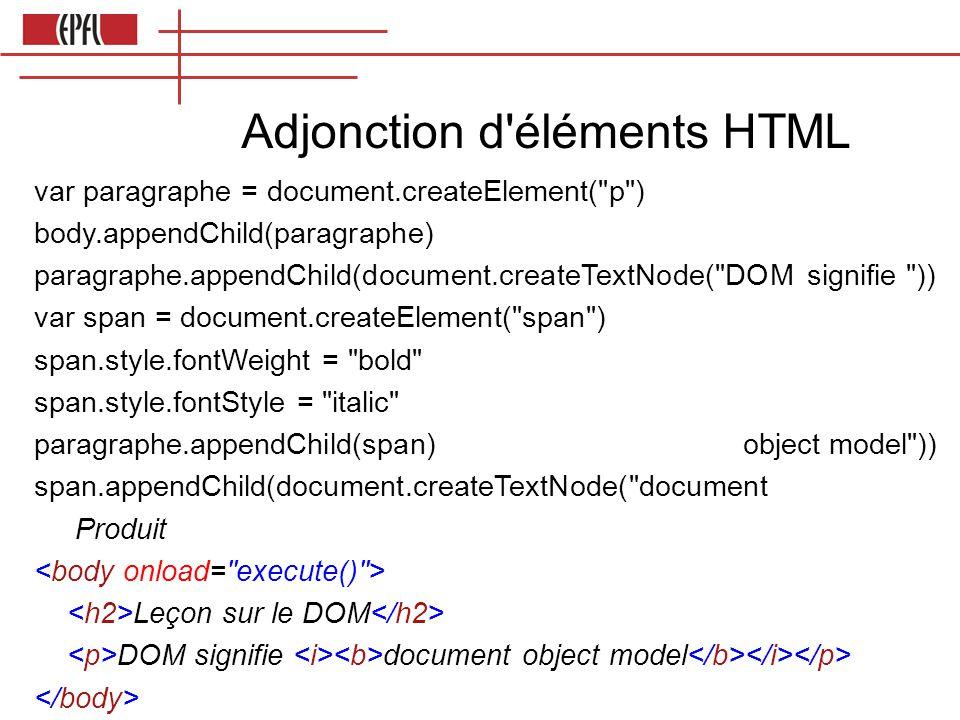 Adjonction d éléments HTML var paragraphe = document.createElement( p ) body.appendChild(paragraphe) paragraphe.appendChild(document.createTextNode( DOM signifie )) var span = document.createElement( span ) span.style.fontWeight = bold span.style.fontStyle = italic paragraphe.appendChild(span) object model )) span.appendChild(document.createTextNode( document Produit Leçon sur le DOM DOM signifie document object model