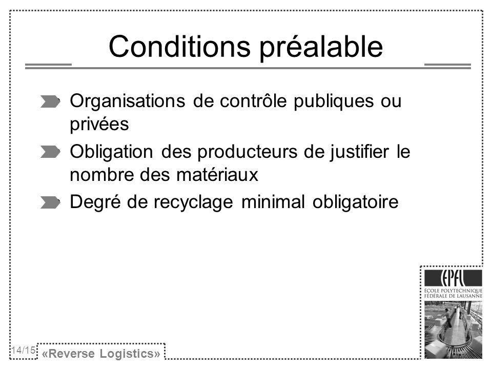 Conditions préalable Organisations de contrôle publiques ou privées Obligation des producteurs de justifier le nombre des matériaux Degré de recyclage minimal obligatoire «Reverse Logistics» 14/15