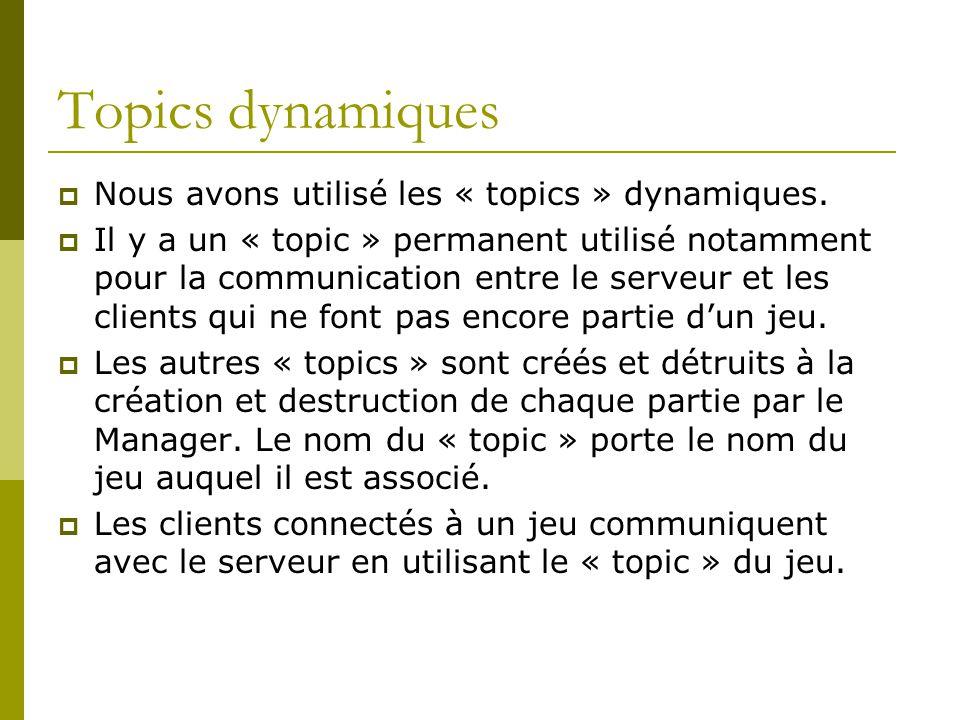 Topics dynamiques Nous avons utilisé les « topics » dynamiques. Il y a un « topic » permanent utilisé notamment pour la communication entre le serveur