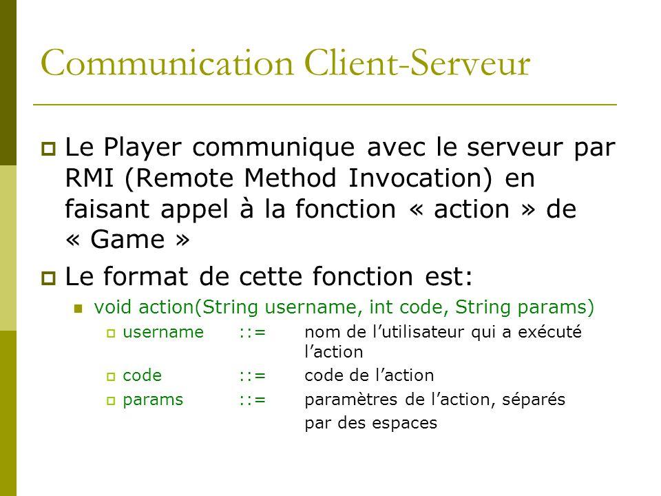 Communication Client-Serveur Le Player communique avec le serveur par RMI (Remote Method Invocation) en faisant appel à la fonction « action » de « Ga