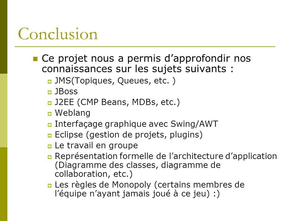 Conclusion Ce projet nous a permis dapprofondir nos connaissances sur les sujets suivants : JMS(Topiques, Queues, etc. ) JBoss J2EE (CMP Beans, MDBs,