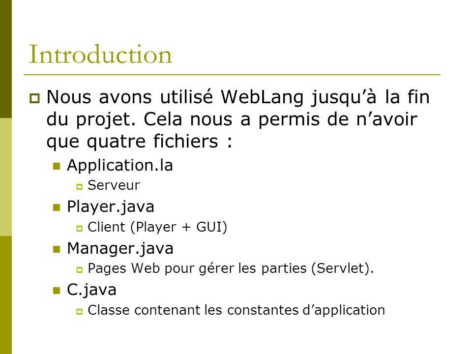 Introduction Nous avons utilisé WebLang jusquà la fin du projet. Cela nous a permis de navoir que quatre fichiers : Application.la Serveur Player.java