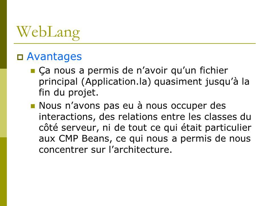 WebLang Avantages Ça nous a permis de navoir quun fichier principal (Application.la) quasiment jusquà la fin du projet. Nous navons pas eu à nous occu