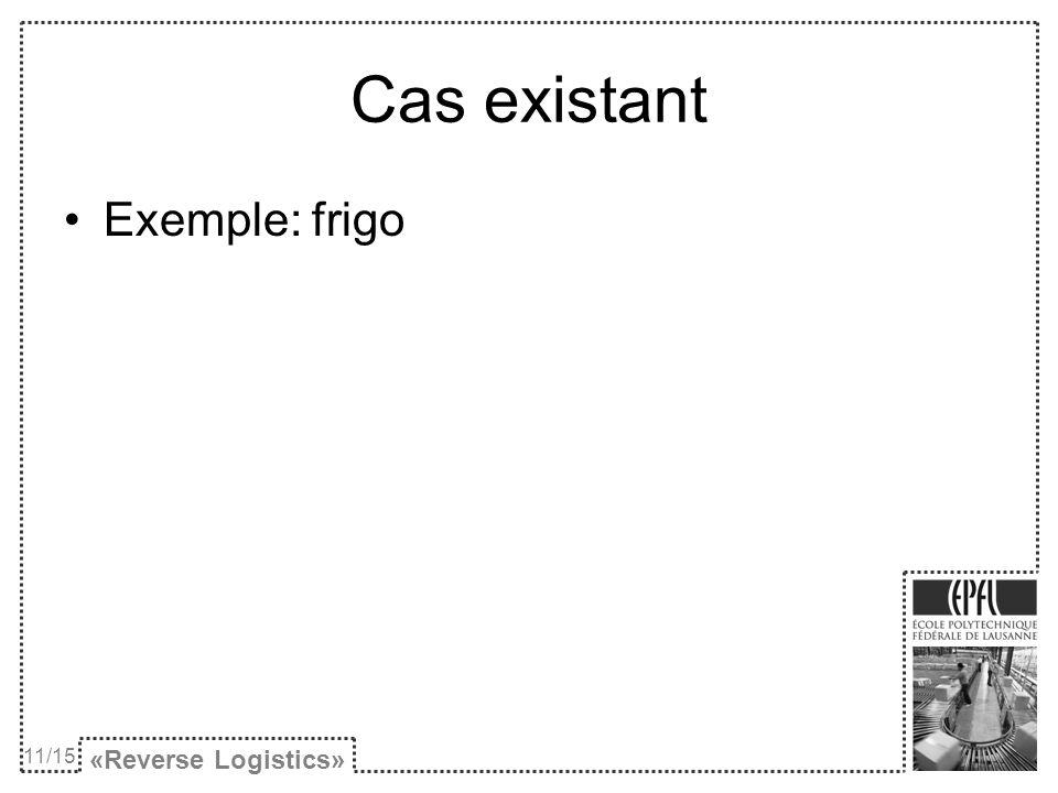 Cas existant Exemple: frigo «Reverse Logistics» 11/15