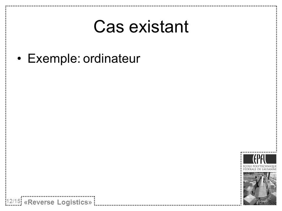 Cas existant Exemple: ordinateur «Reverse Logistics» 12/15