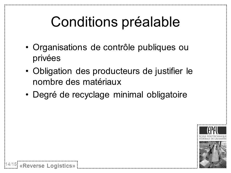 Conditions préalable Organisations de contrôle publiques ou privées Obligation des producteurs de justifier le nombre des matériaux Degré de recyclage