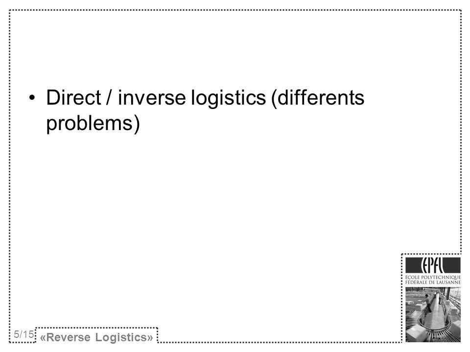 «Reverse Logistics» 6/15 Séparation et prise dinfos Cueillette et transport Inspection et tests Option la plus profitable Etapes