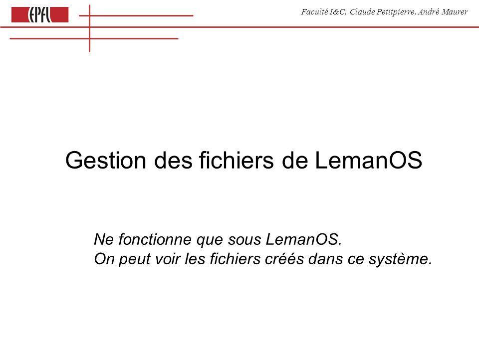 Faculté I&C, Claude Petitpierre, André Maurer Gestion des fichiers de LemanOS Ne fonctionne que sous LemanOS.