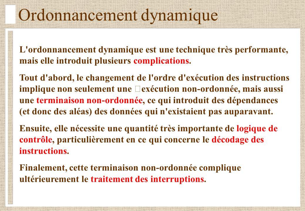Ordonnancement dynamique L'ordonnancement dynamique est une technique très performante, mais elle introduit plusieurs complications. Tout d'abord, le