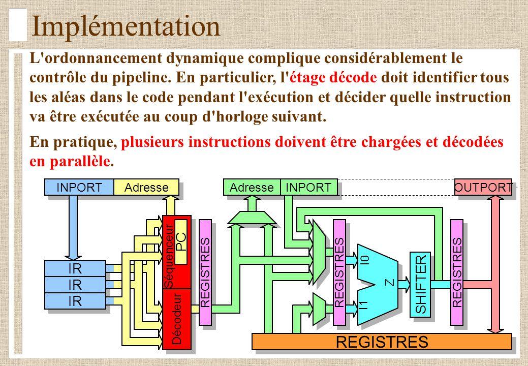 IR Implémentation L'ordonnancement dynamique complique considérablement le contrôle du pipeline. En particulier, l'étage décode doit identifier tous l