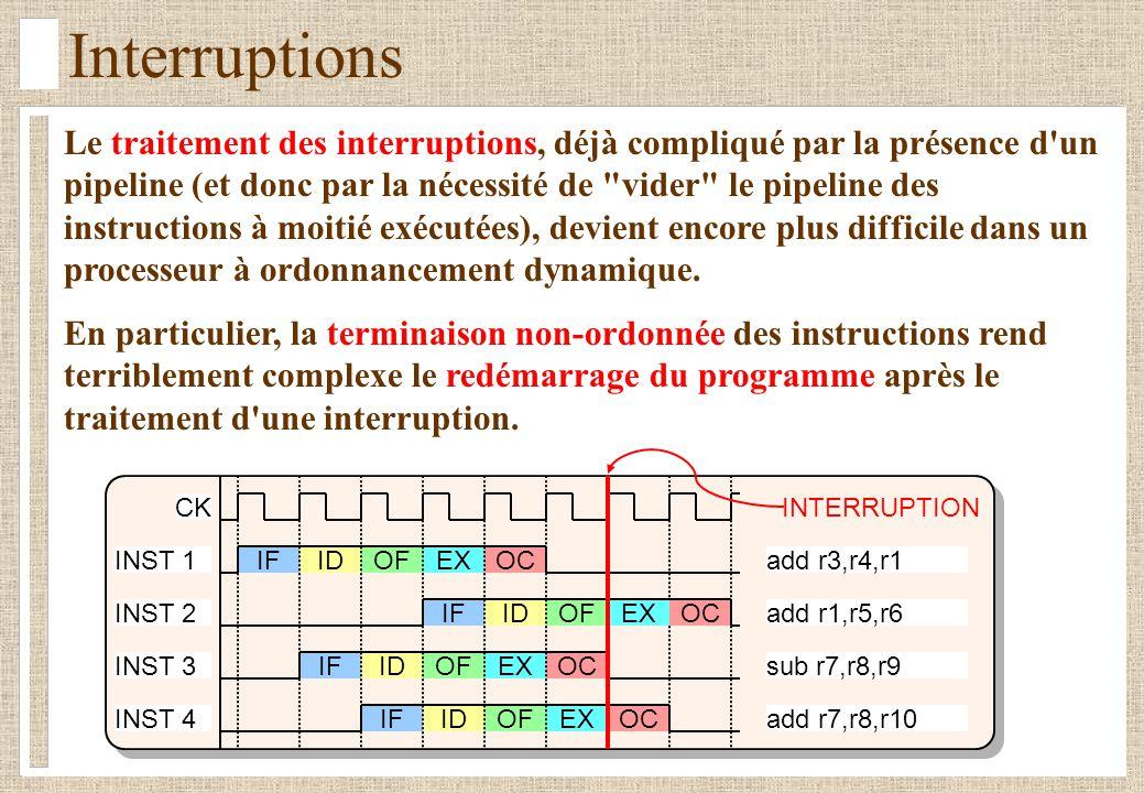 Interruptions Le traitement des interruptions, déjà compliqué par la présence d'un pipeline (et donc par la nécessité de