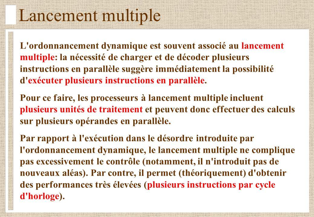 Lancement multiple L'ordonnancement dynamique est souvent associé au lancement multiple: la nécessité de charger et de décoder plusieurs instructions
