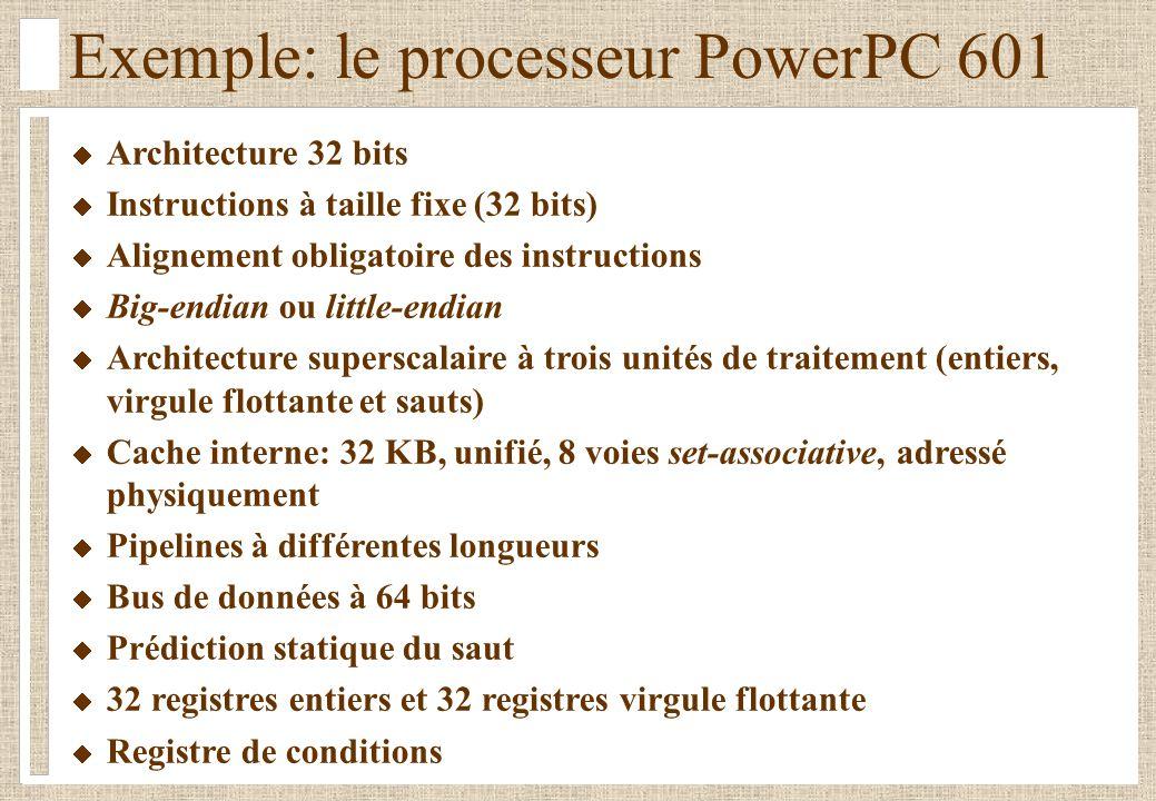 Exemple: le processeur PowerPC 601 Architecture 32 bits Instructions à taille fixe (32 bits) Alignement obligatoire des instructions Big-endian ou lit