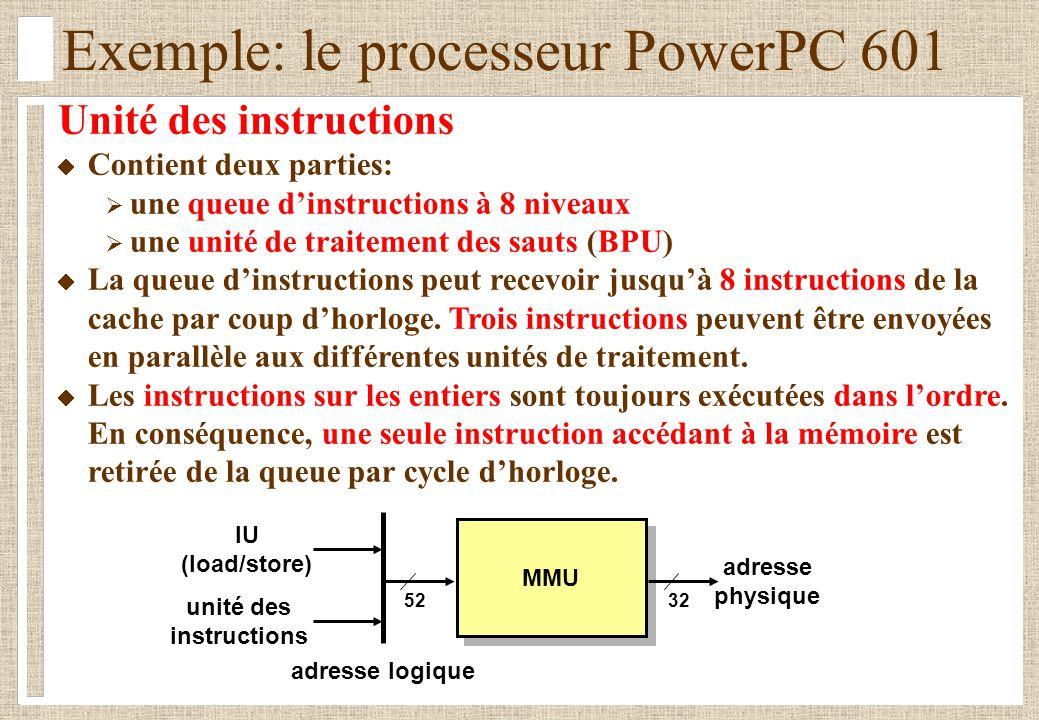Exemple: le processeur PowerPC 601 Unité des instructions Contient deux parties: une queue dinstructions à 8 niveaux une unité de traitement des sauts