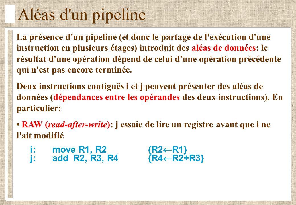 Aléas d'un pipeline La présence d'un pipeline (et donc le partage de l'exécution d'une instruction en plusieurs étages) introduit des aléas de données