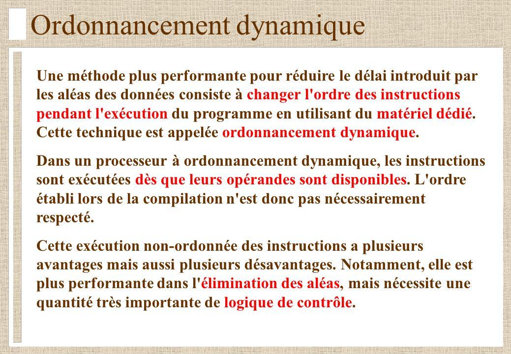 Ordonnancement dynamique Dans un processeur à ordonnancement dynamique, les instructions sont exécutées dès que les opérandes sont disponibles.