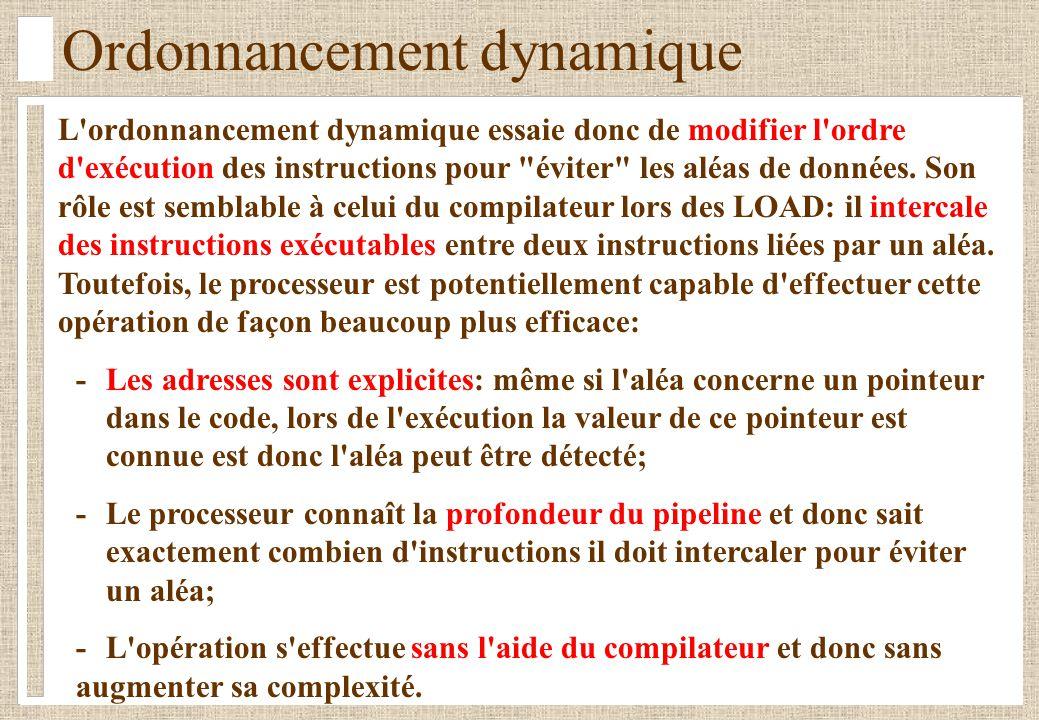 Ordonnancement dynamique L'ordonnancement dynamique essaie donc de modifier l'ordre d'exécution des instructions pour