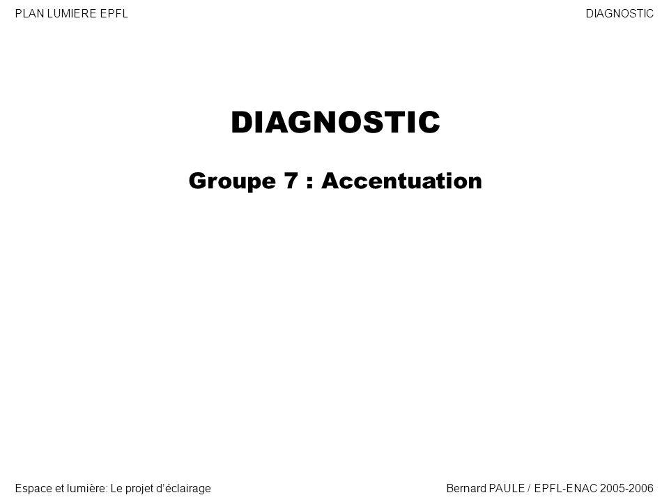 DIAGNOSTIC Espace et lumière: Le projet déclairage PLAN LUMIERE EPFL Bernard PAULE / EPFL-ENAC 2005-2006 DIAGNOSTIC Groupe 7 : Accentuation