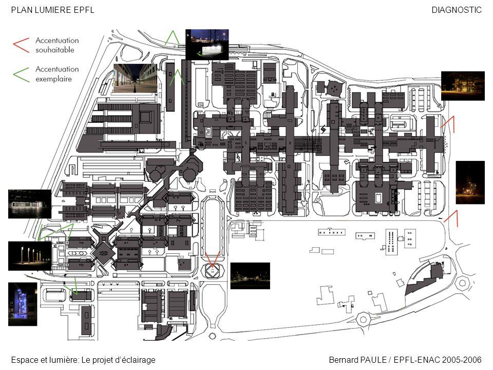 DIAGNOSTIC Espace et lumière: Le projet déclairage PLAN LUMIERE EPFL Bernard PAULE / EPFL-ENAC 2005-2006 Premier point à relever: les entrées nord de L EPFL.