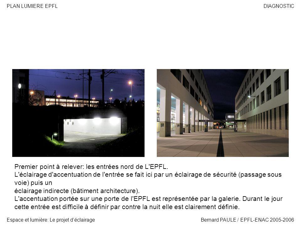 DIAGNOSTIC Espace et lumière: Le projet déclairage PLAN LUMIERE EPFL Bernard PAULE / EPFL-ENAC 2005-2006 Premier point à relever: les entrées nord de