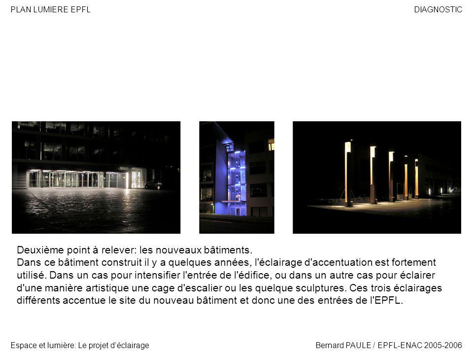 DIAGNOSTIC Espace et lumière: Le projet déclairage PLAN LUMIERE EPFL Bernard PAULE / EPFL-ENAC 2005-2006 Deuxième point à relever: les nouveaux bâtime