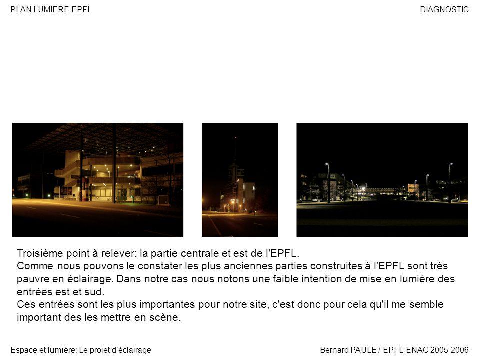 DIAGNOSTIC Espace et lumière: Le projet déclairage PLAN LUMIERE EPFL Bernard PAULE / EPFL-ENAC 2005-2006 Troisième point à relever: la partie centrale