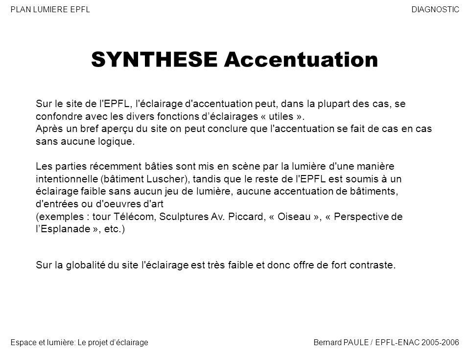 DIAGNOSTIC Espace et lumière: Le projet déclairage PLAN LUMIERE EPFL Bernard PAULE / EPFL-ENAC 2005-2006 SYNTHESE Accentuation Sur le site de l'EPFL,
