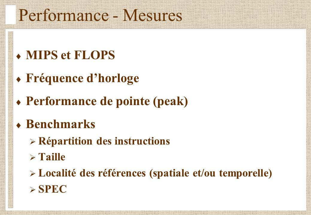 Performance - Mesures MIPS et FLOPS Fréquence dhorloge Performance de pointe (peak) Benchmarks Répartition des instructions Taille Localité des références (spatiale et/ou temporelle) SPEC