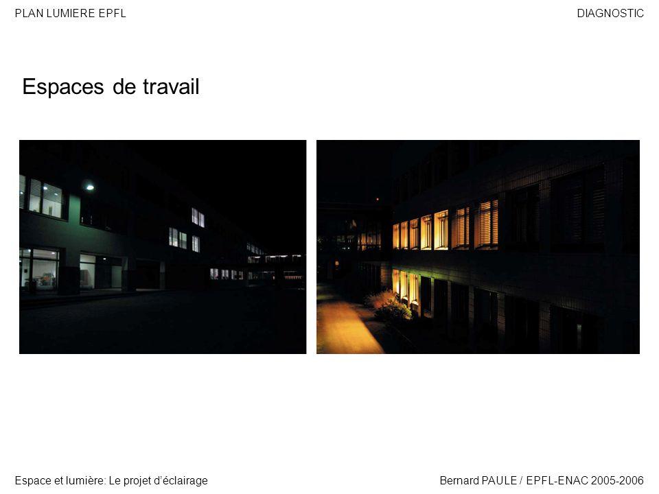 DIAGNOSTIC Espace et lumière: Le projet déclairage PLAN LUMIERE EPFL Bernard PAULE / EPFL-ENAC 2005-2006 SYNTHESE Usages Les lumières dusage correspondent aux lumières émises par les bâtiments.