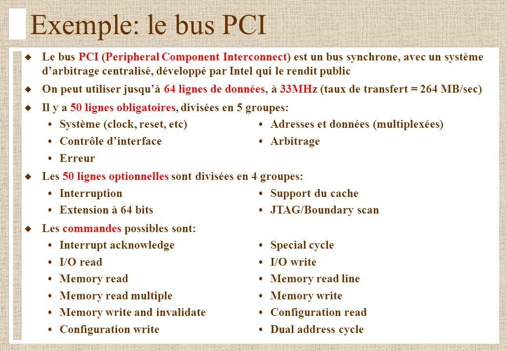 Exemple: le bus PCI Le bus PCI (Peripheral Component Interconnect) est un bus synchrone, avec un système darbitrage centralisé, développé par Intel qu