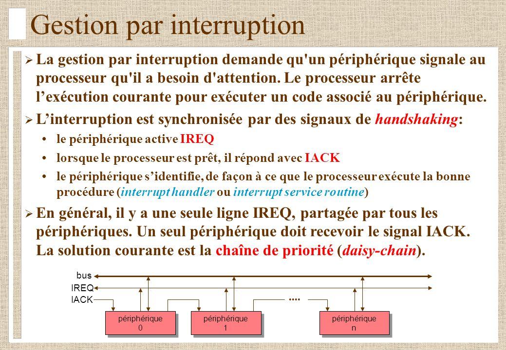 Gestion par interruption La gestion par interruption demande qu'un périphérique signale au processeur qu'il a besoin d'attention. Le processeur arrête