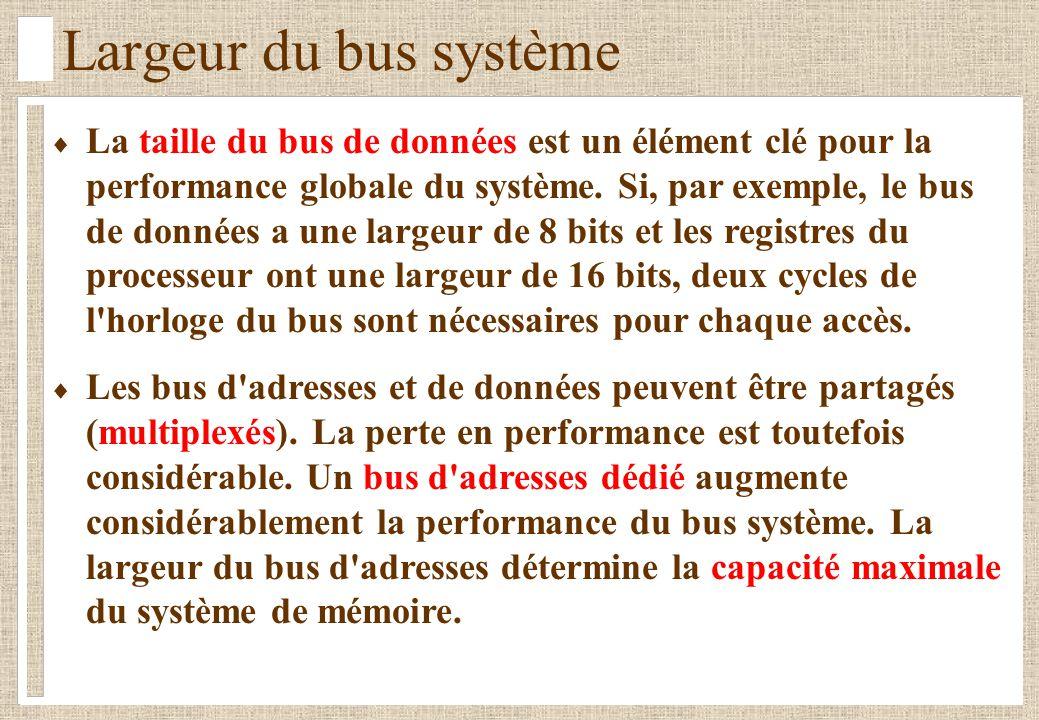 Largeur du bus système La taille du bus de données est un élément clé pour la performance globale du système. Si, par exemple, le bus de données a une