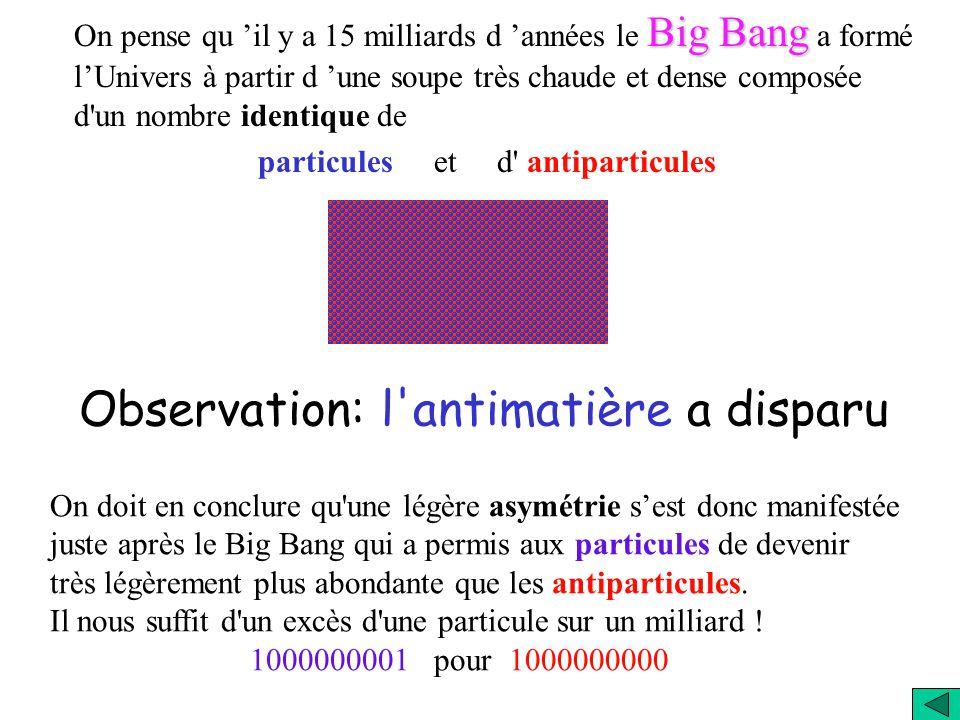 Dans les deux cas il faut expliquer comment on a pu former un Univers uniquement de matière (cas a) ou des îlot avec une unique espèce (b). Cela impli