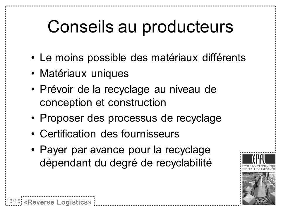Conseils au producteurs Le moins possible des matériaux différents Matériaux uniques Prévoir de la recyclage au niveau de conception et construction Proposer des processus de recyclage Certification des fournisseurs Payer par avance pour la recyclage dépendant du degré de recyclabilité «Reverse Logistics» 13/15