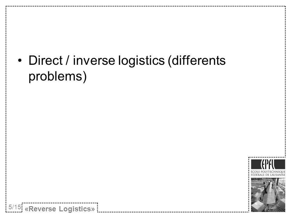 Direct / inverse logistics (differents problems) «Reverse Logistics» 5/15