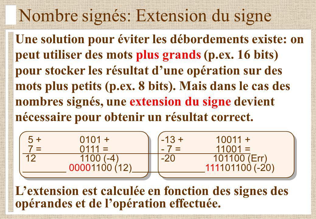 Une solution pour éviter les débordements existe: on peut utiliser des mots plus grands (p.ex. 16 bits) pour stocker les résultat dune opération sur d