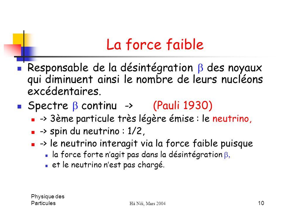 Physique des Particules Hà Nôi, Mars 2004 10 La force faible Responsable de la désintégration des noyaux qui diminuent ainsi le nombre de leurs nucléo