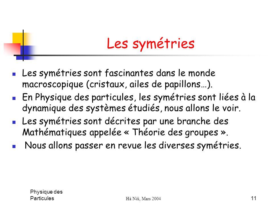Physique des Particules Hà Nôi, Mars 2004 11 Les symétries Les symétries sont fascinantes dans le monde macroscopique (cristaux, ailes de papillons…).