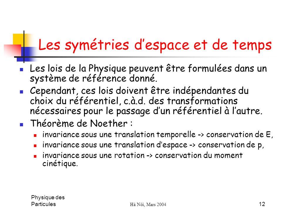 Physique des Particules Hà Nôi, Mars 2004 12 Les symétries despace et de temps Les lois de la Physique peuvent être formulées dans un système de référ