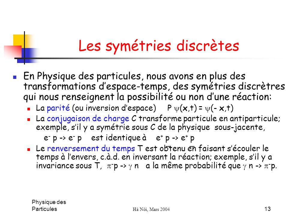 Physique des Particules Hà Nôi, Mars 2004 13 Les symétries discrètes En Physique des particules, nous avons en plus des transformations despace-temps,